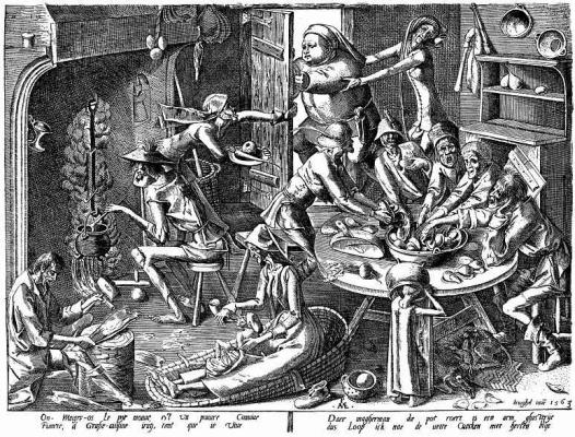 Pieter Bruegel The Elder. Skinny kitchen (the Poor kitchen)