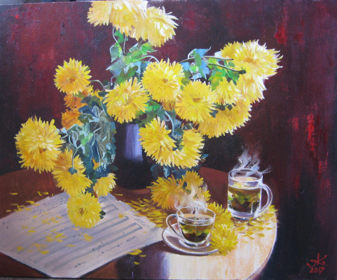 Александр Сергеевич Кривонос. Still life with chrysanthemums