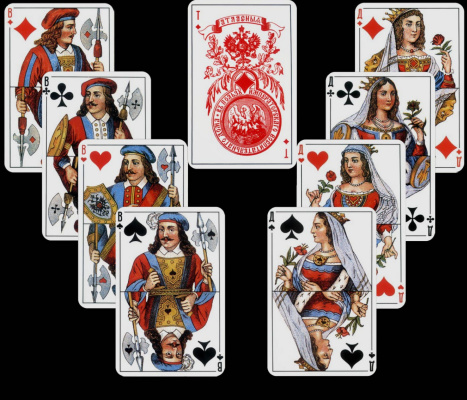 Adolf Iosifovich Charlemagne. Satin deck, ladies, jacks and diamonds ace with the imperial coat of arms