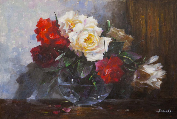 Savely Kamsky. Bouquet of red and white roses