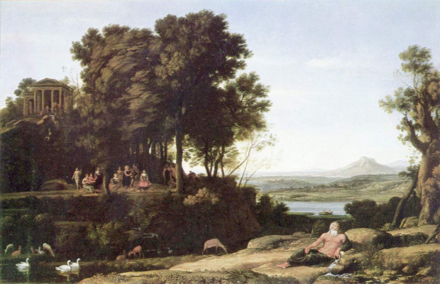 Claude Lorrain. Landscape with Apollo, the muses and a river God