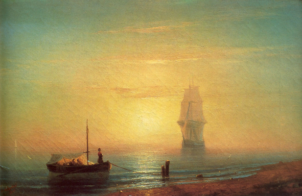 Ivan Aivazovsky. Sunset on the sea