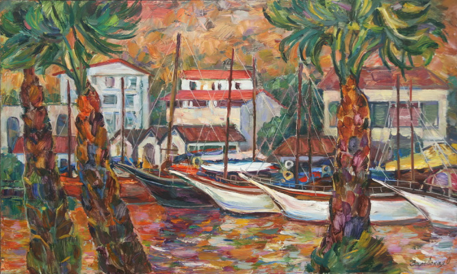Oksana Viktorovna Zalevskaya. Landscape with yachts and palm trees