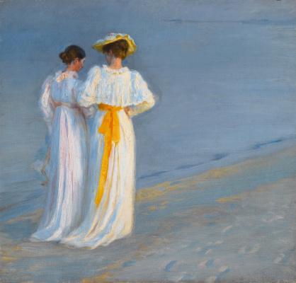 Педер Северин Крёйер. Анна Анкер и Мария Крёйер на пляже в Скагене