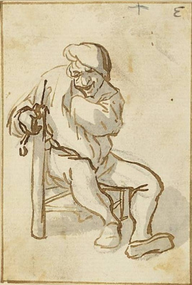 Адриан Янс ван Остаде. Крестьянин с трубкой, сидящий на стуле