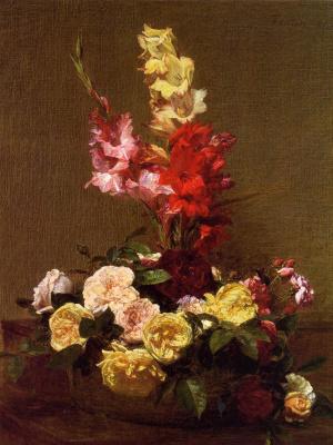 Анри Фантен-Латур. Гладиолусы и розы