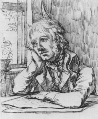 Caspar David Friedrich. Self portrait with head propping