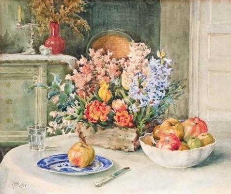 Olga Alexandrovna Romanova. Still life with flowers and apples