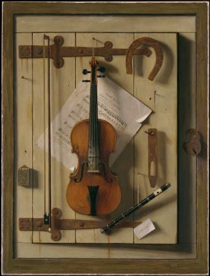 William Michael Harnett. Still life. Violin and music