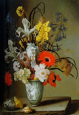 Балтазар ван дер Аст. Натюрморт с цветами в фарфоровой вазе и раковинами на столе