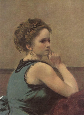 Camille Corot. Lady in blue, fragment