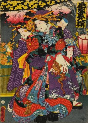 Toyohara Chikanobu. Courtesans. Yoshiwara night procession