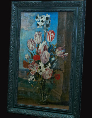 """Ambrosius Bosschaert the Younger. A copy of a painting Ambrosius the Younger Boshart """"a Bouquet of flowers in a glass vase on the windowsill"""""""
