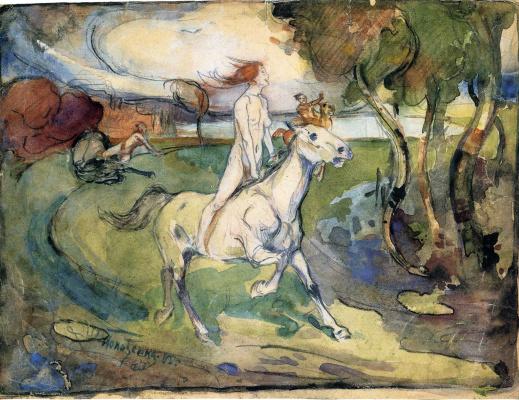 Oskar Kokoschka. Girl on horseback