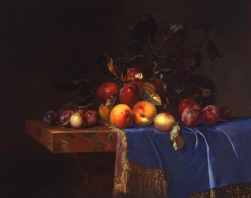 Willem van Aelst. Still life with peaches and plums on the blue tablecloth