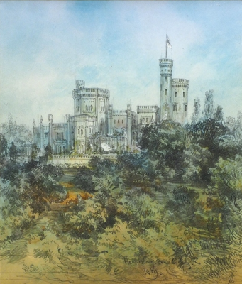 Adolf Iosifovich Charlemagne. Landscape with a castle.