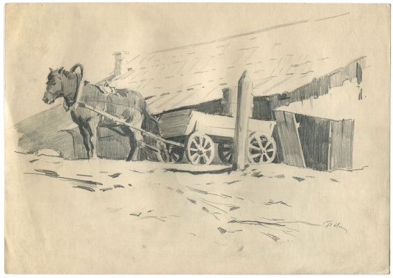 Alexandrovich Rudolf Pavlov. Horse with a cart near the house. 1961
