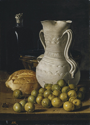 Луис Мелендес. Натюрморт с грушами, хлебом, алкаррацей, чашей и бутылем