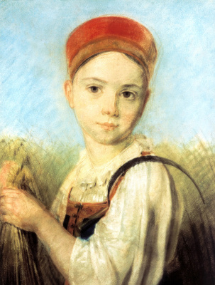 Alexey Gavrilovich Venetsianov. Peasant girl with a sickle in the rye