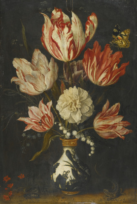 Baltazar van der Ast. Still life with variegated tulips in a vase and butterfly