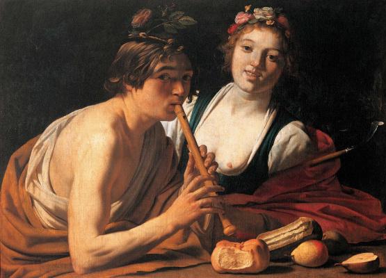 Gerard van Honthorst. The shepherd and shepherdess