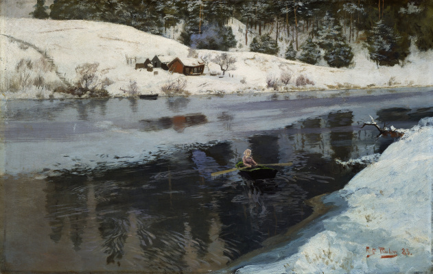 Frits Thaulow. River Simoa winter