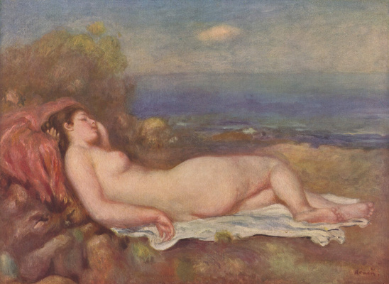 Pierre-Auguste Renoir. Sleeping by the sea