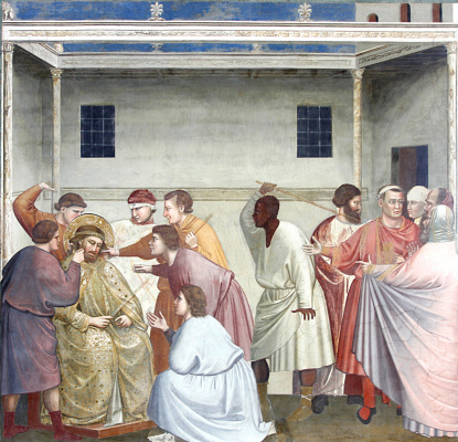 Giotto di Bondone. Whipping of Christ. Scenes from the life of Christ