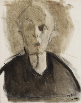 Helena Sophia Scherfbek. Self portrait with a red dot