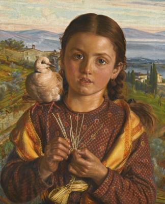 William Holman Hunt. Italian child (Tuscan girl plaiting straw)
