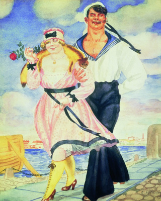 """Boris Kustodiev. Sailor and sweetheart. From the series """"Russia. Russian types"""""""