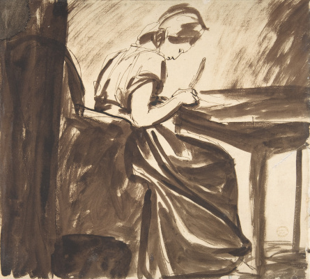 George Romney. A girl writing at a table. Sketch