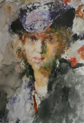 Артур Владимирович Фонвизин. Портрет Елены Тагер в шляпке. 1950-е