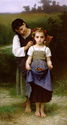 William-Adolphe Bouguereau. A wreath of flowers