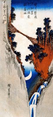 """Утагава Хиросигэ. Выглядывающий полумесяц. Серия """"28 взглядов на луну"""""""