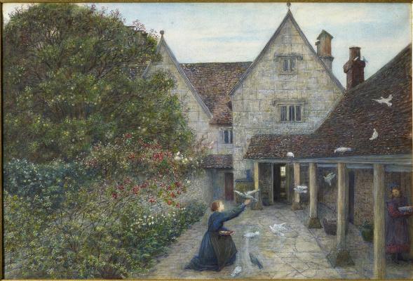 Поместье Келмскотт: кормление голубей на кухонном дворе