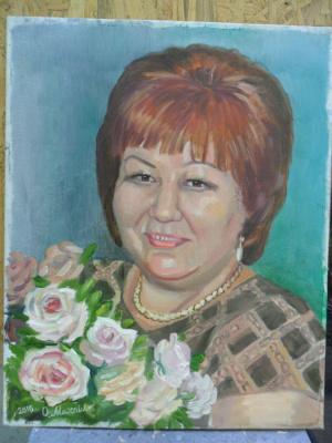 Olga Vladimirovna Mikhaylenko. Woman portrait with flowers
