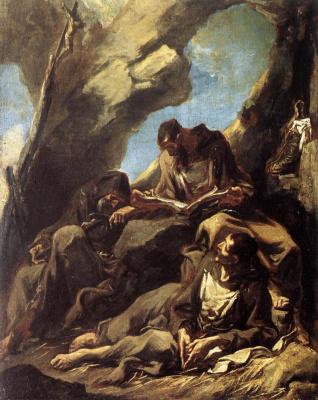 Алессандро Маньяско. Три монаха капуцина медитируют