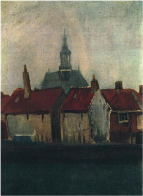 Vincent van Gogh. Old houses and new Church in the Hague