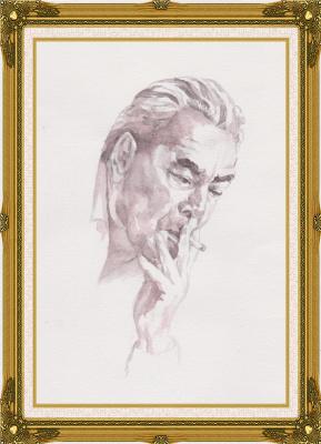 Ivan Alexandrovich Dolgorukov. Watercolor portrait of Leonid Brezhnev
