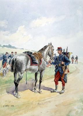 Иоанн Евангелист Шеффер фон Леонхардсхоф. Французский солдат, держащий под уздцы лошадь