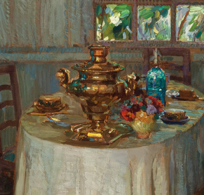 Stanislav Yulianovich Zhukovsky. Interior with a samovar. Fragment