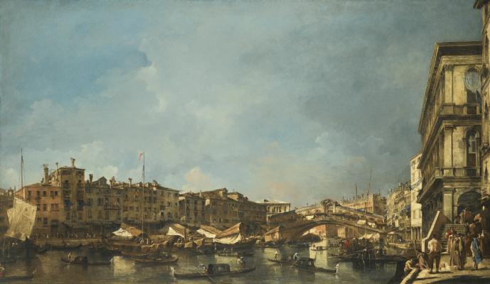 Francesco Guardi. Venice. The North view of the Rialto bridge from the Fondamenta del carbon
