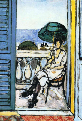 Henri Matisse. Woman with a green parasol on a balcony