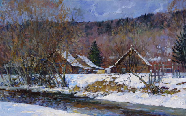 Alexander Victorovich Shevelyov. Winter river.Oil on canvas 32 # of 49.9 cm 2006