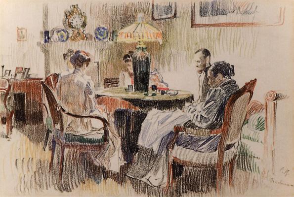 Sergey Arsenievich Vinogradov. The interior in the evening