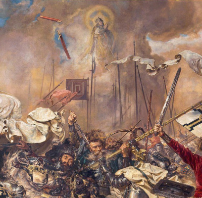 Jan Matejko. Battle of Grunwald. Fragment. The Appearance of Saint Stanislav over the Battlefield