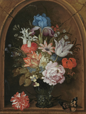 Baltazar van der Ast. Still life with a bouquet of flowers in a niche and a butterfly