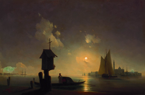 Ivan Aivazovsky. Sea view with a chapel on the shore