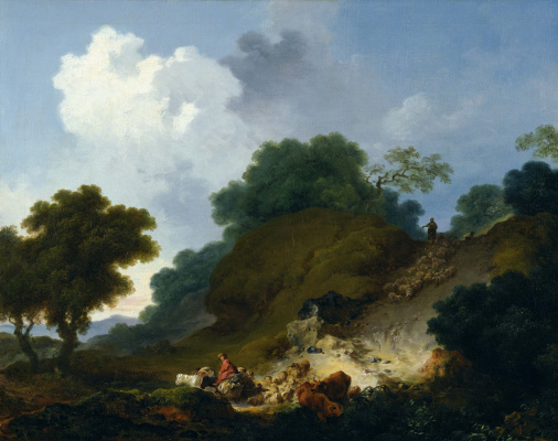 Jean-Honore Fragonard. Landscape with shepherds and flock of sheep